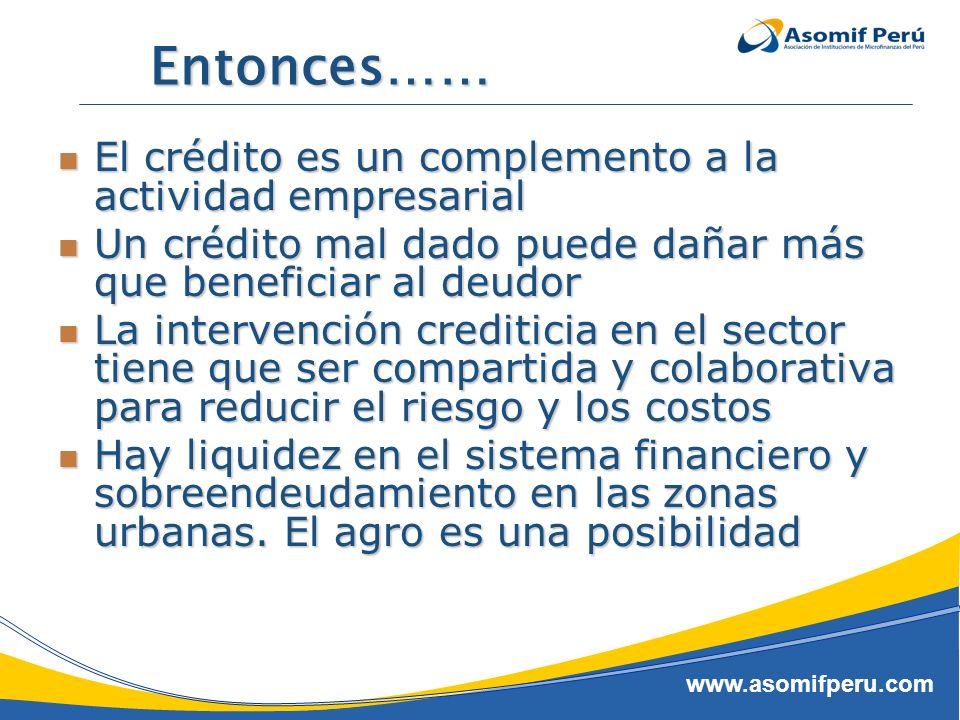 Entonces…… El crédito es un complemento a la actividad empresarial