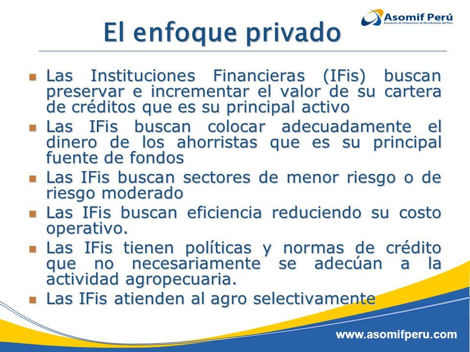 El enfoque privado Las Instituciones Financieras (IFis) buscan preservar e incrementar el valor de su cartera de créditos que es su principal activo.