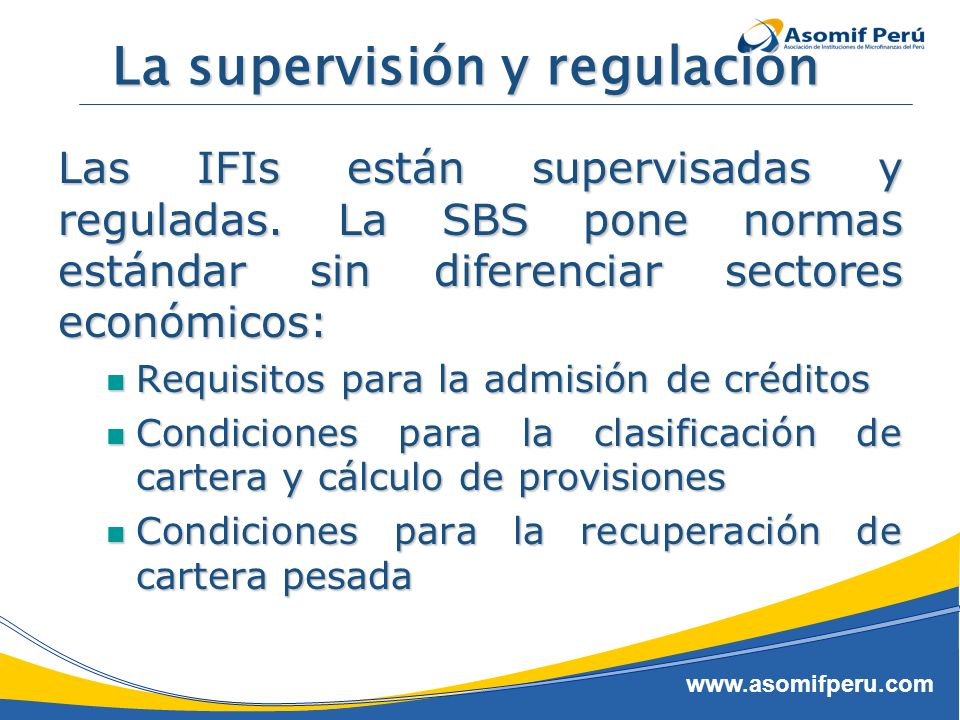 La supervisión y regulación