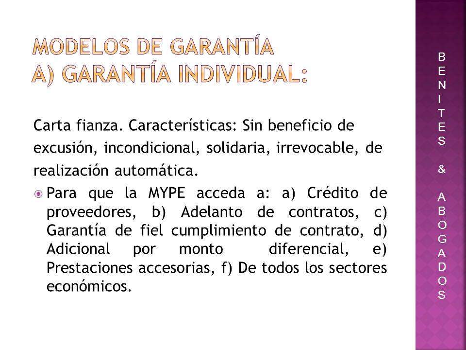 modelos de garantía a) Garantía Individual: