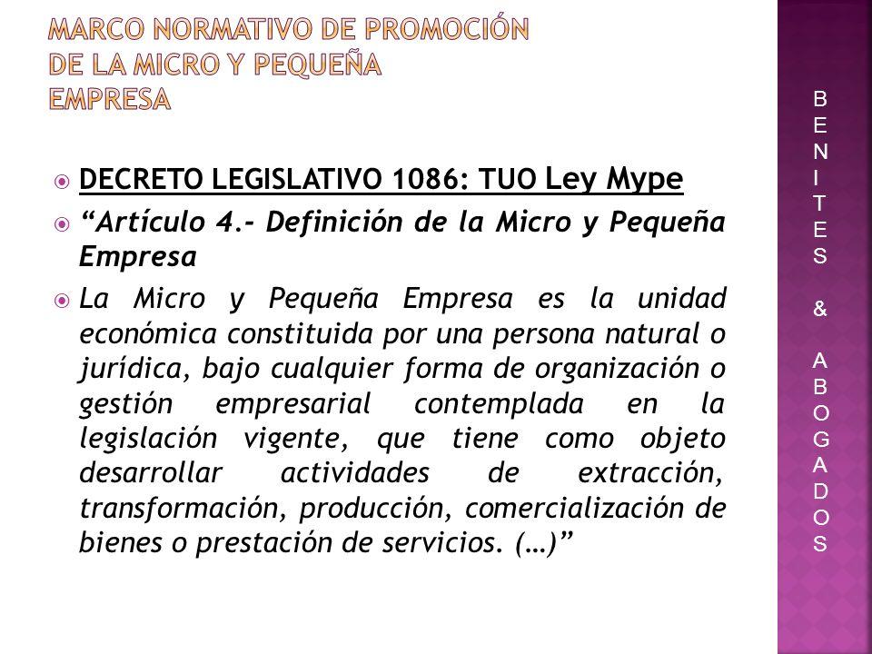 Marco normativo de Promoción de la Micro y Pequeña Empresa