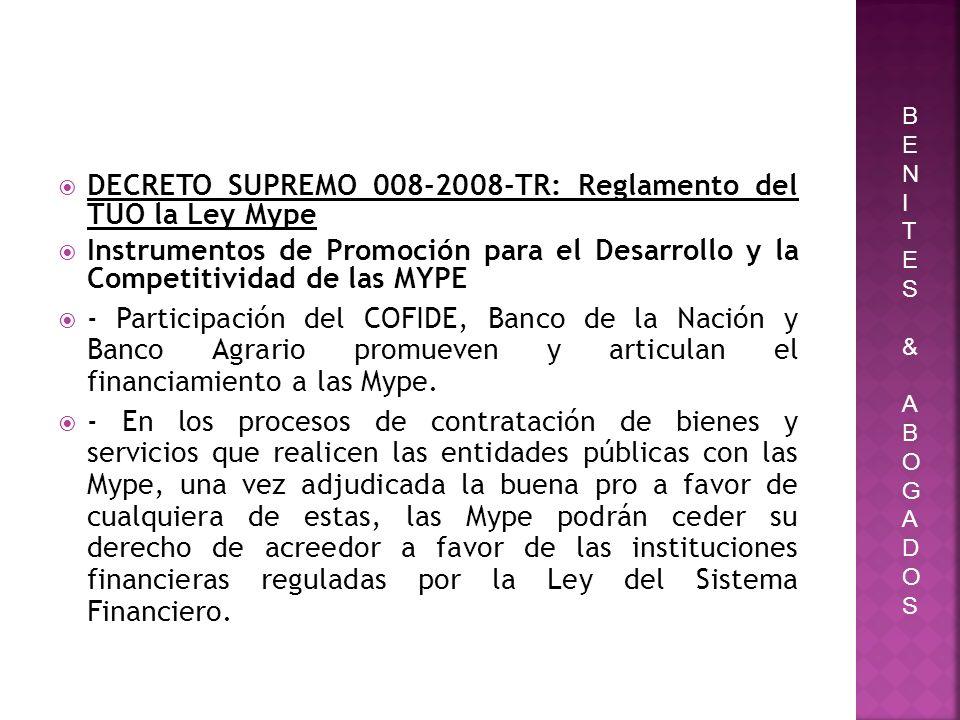 DECRETO SUPREMO 008-2008-TR: Reglamento del TUO la Ley Mype