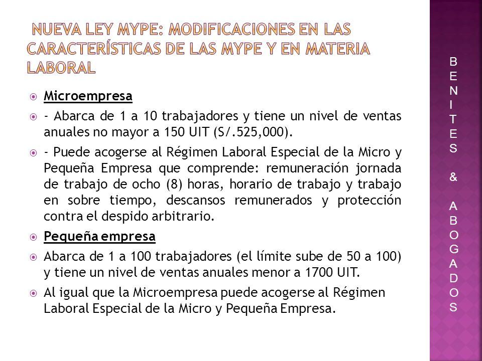 Nueva ley Mype: modificaciones en las características de las Mype y en materia laboral
