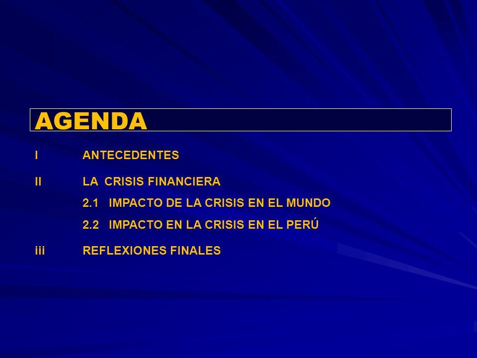 AGENDA I ANTECEDENTES II LA CRISIS FINANCIERA