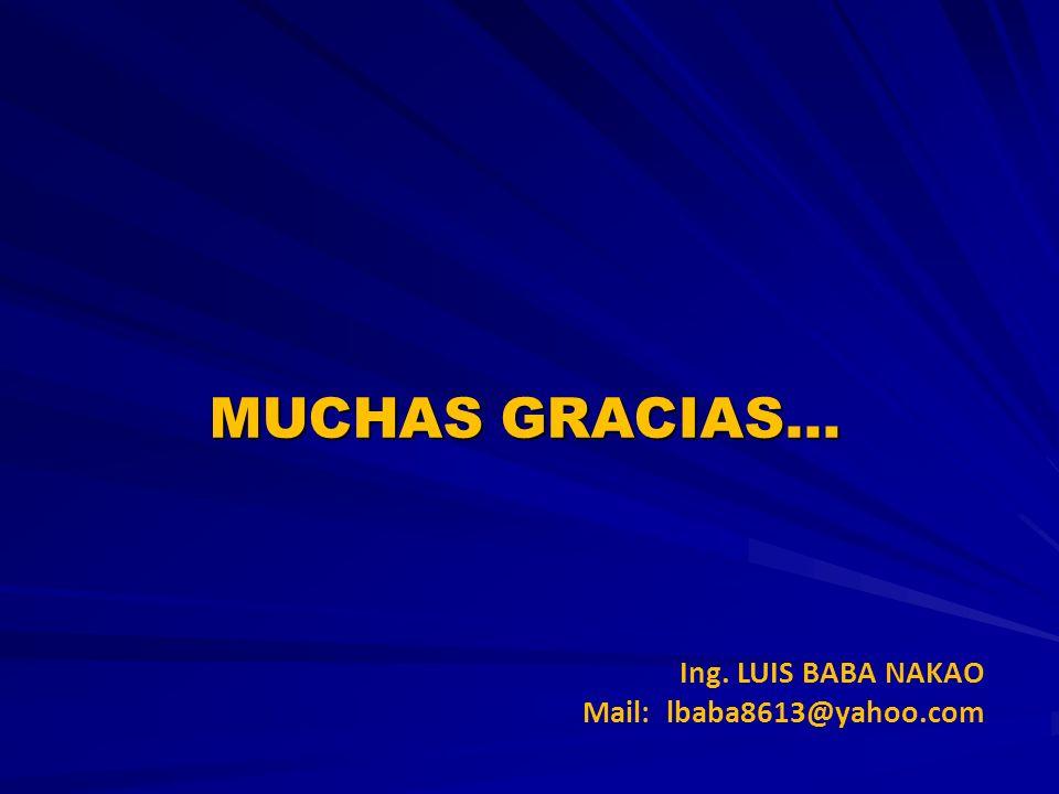 MUCHAS GRACIAS… Ing. LUIS BABA NAKAO Mail: lbaba8613@yahoo.com 21