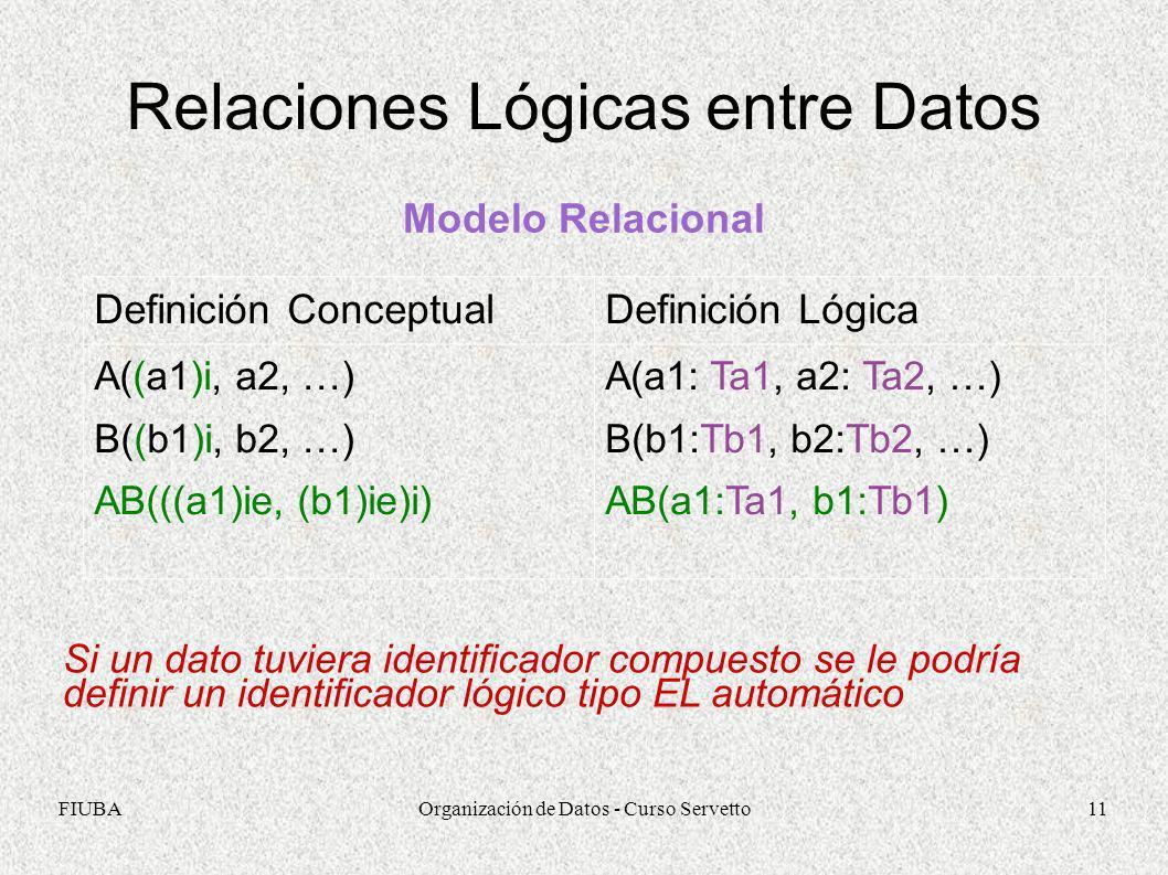 Relaciones Lógicas entre Datos