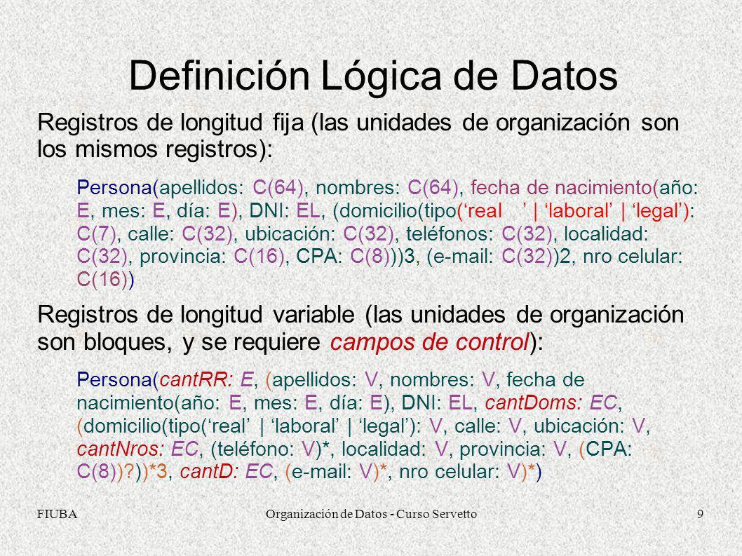 Definición Lógica de Datos
