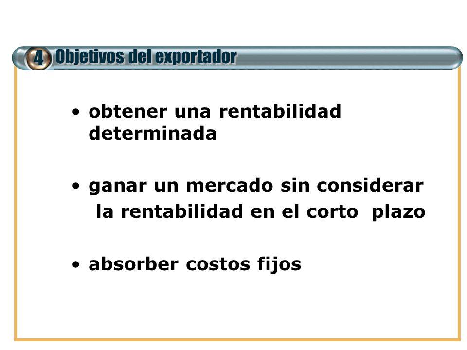 4 Objetivos del exportador obtener una rentabilidad determinada