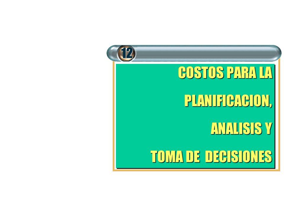 12 COSTOS PARA LA PLANIFICACION, ANALISIS Y TOMA DE DECISIONES