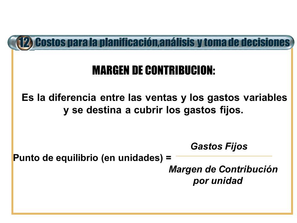 12 MARGEN DE CONTRIBUCION: