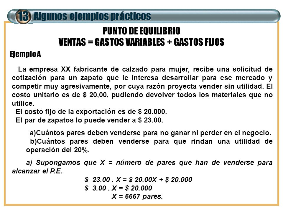 VENTAS = GASTOS VARIABLES + GASTOS FIJOS