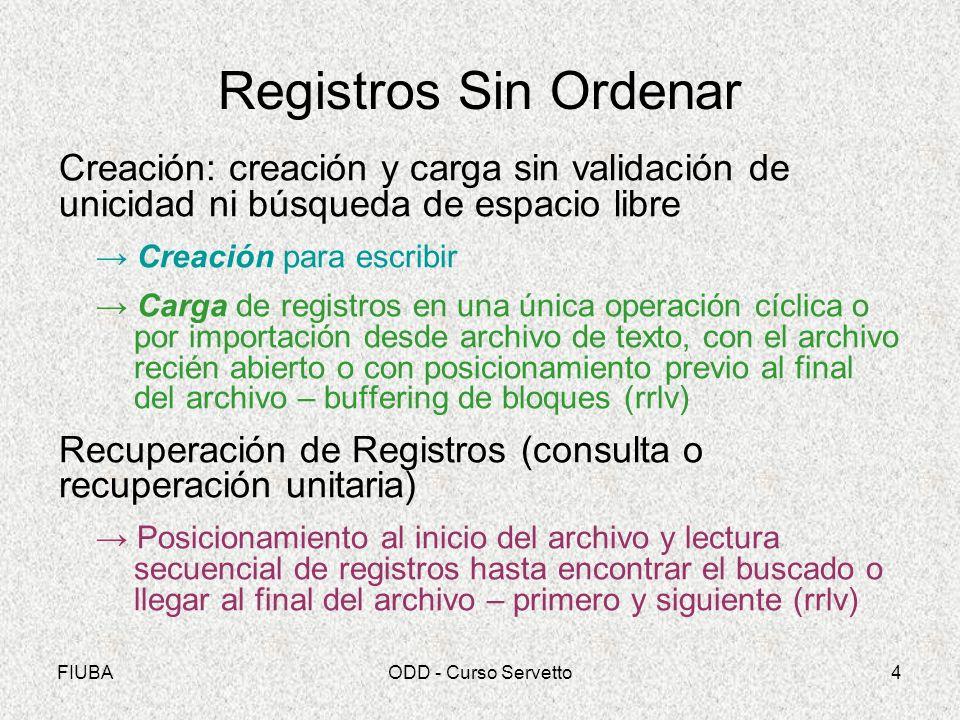 Registros Sin Ordenar Creación: creación y carga sin validación de unicidad ni búsqueda de espacio libre.