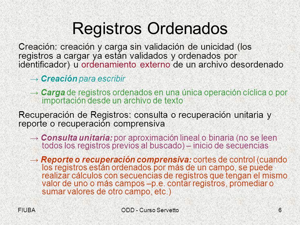 Registros Ordenados