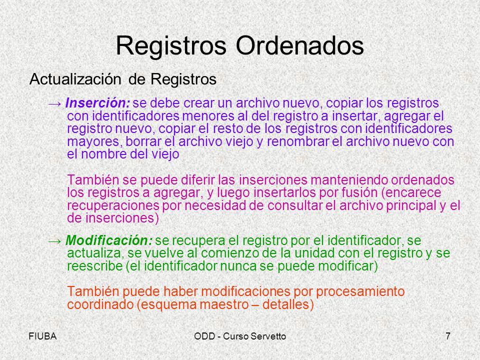 Registros Ordenados Actualización de Registros