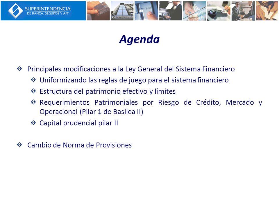 Agenda Principales modificaciones a la Ley General del Sistema Financiero. Uniformizando las reglas de juego para el sistema financiero.