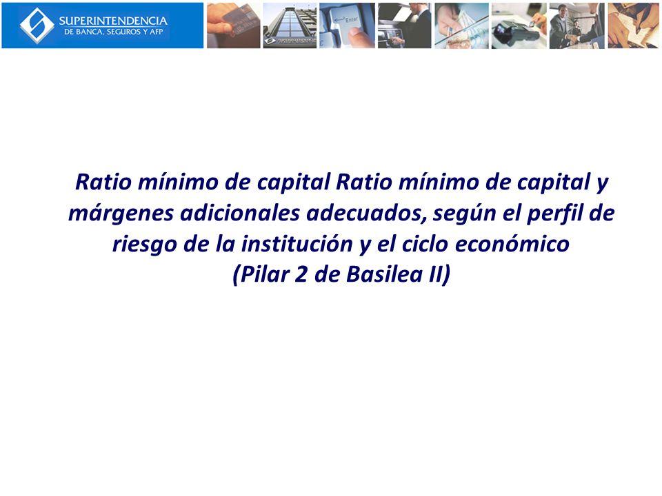 Ratio mínimo de capital Ratio mínimo de capital y márgenes adicionales adecuados, según el perfil de riesgo de la institución y el ciclo económico (Pilar 2 de Basilea II)