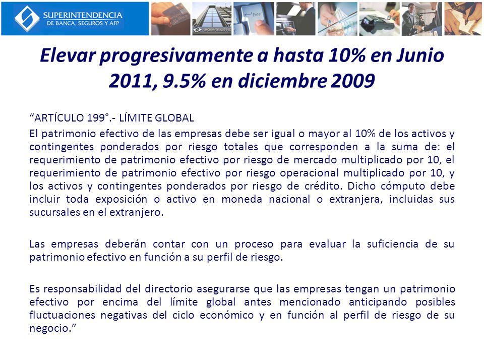 Elevar progresivamente a hasta 10% en Junio 2011, 9