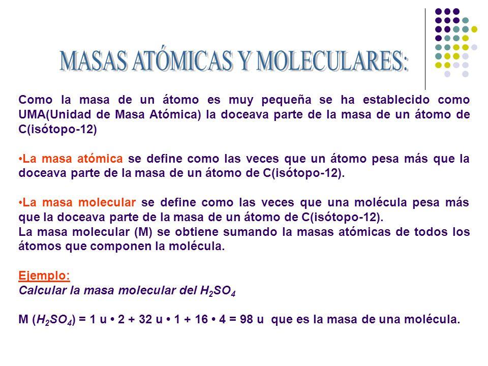 MASAS ATÓMICAS Y MOLECULARES: