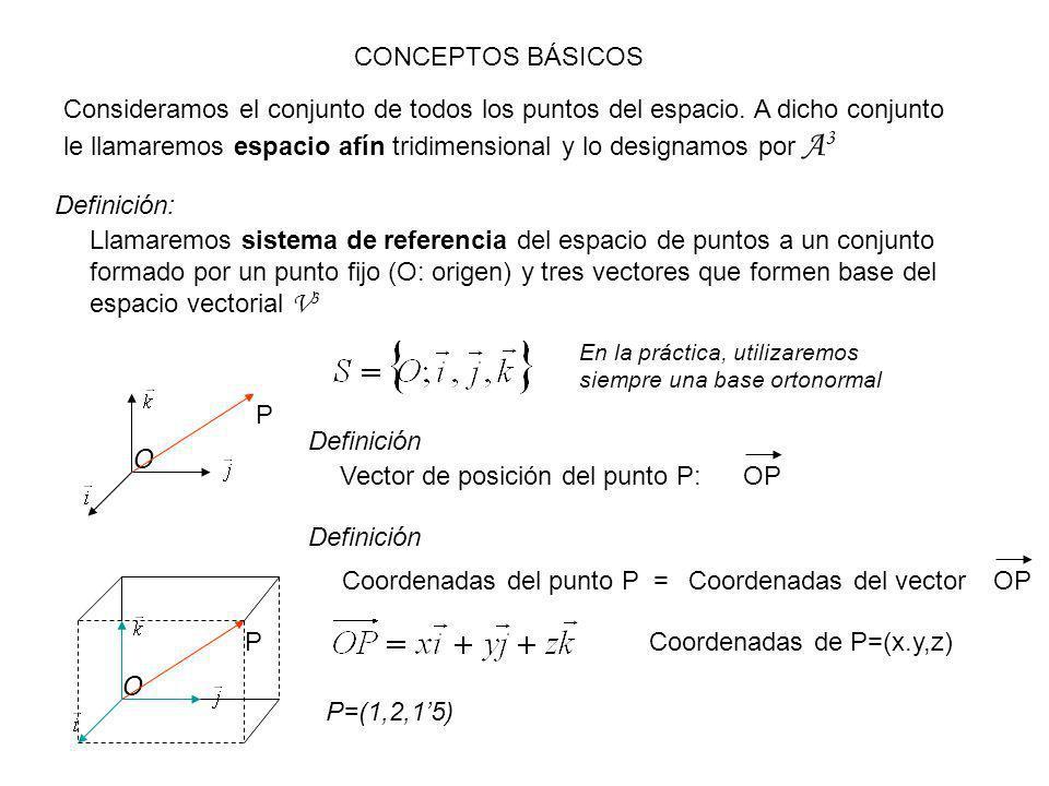 Vector de posición del punto P: