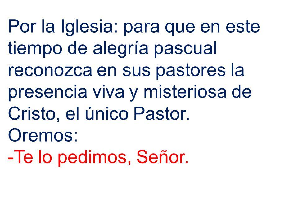 Por la Iglesia: para que en este tiempo de alegría pascual reconozca en sus pastores la presencia viva y misteriosa de Cristo, el único Pastor.