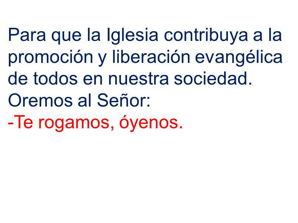 Para que la Iglesia contribuya a la promoción y liberación evangélica de todos en nuestra sociedad.