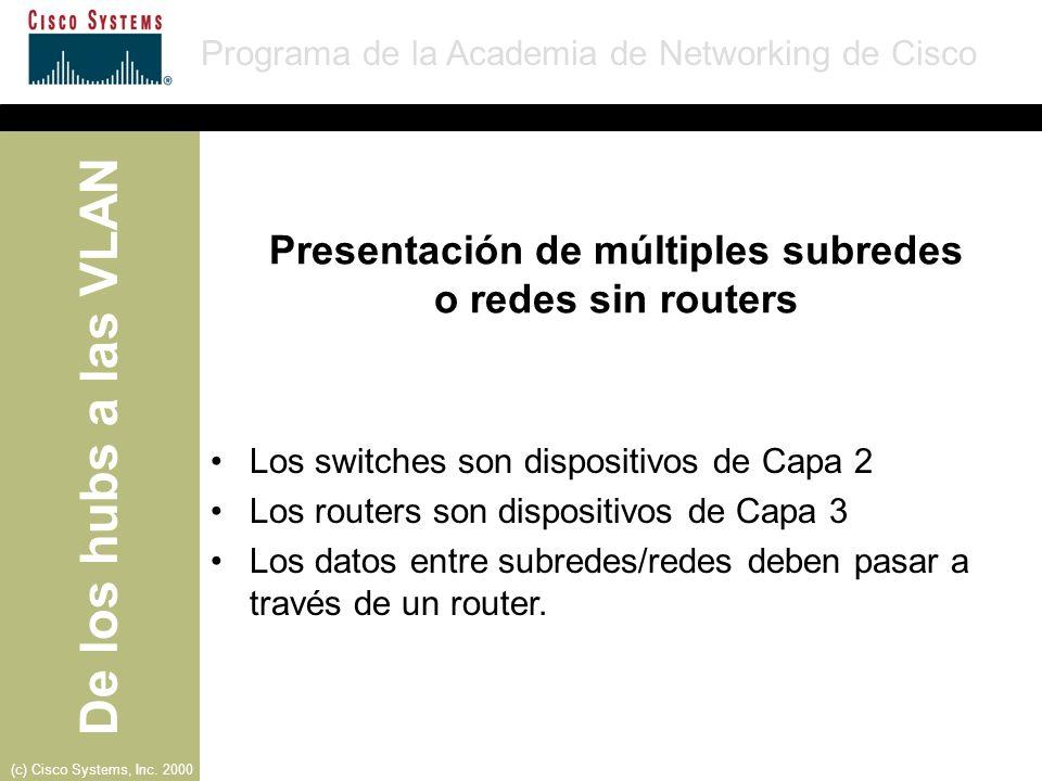 Presentación de múltiples subredes o redes sin routers