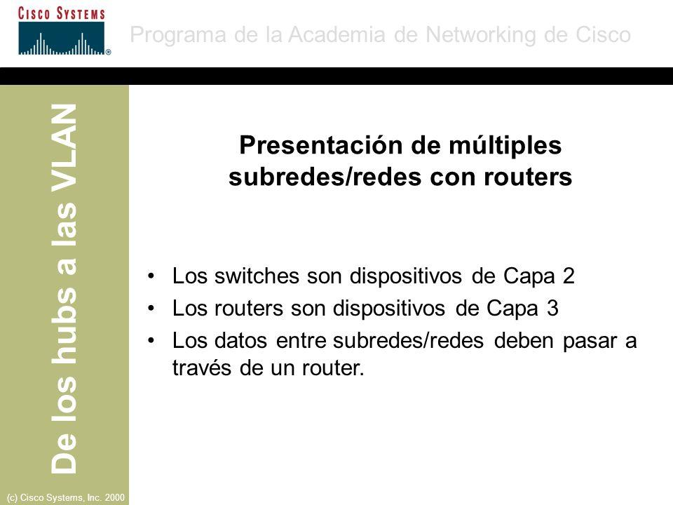 Presentación de múltiples subredes/redes con routers