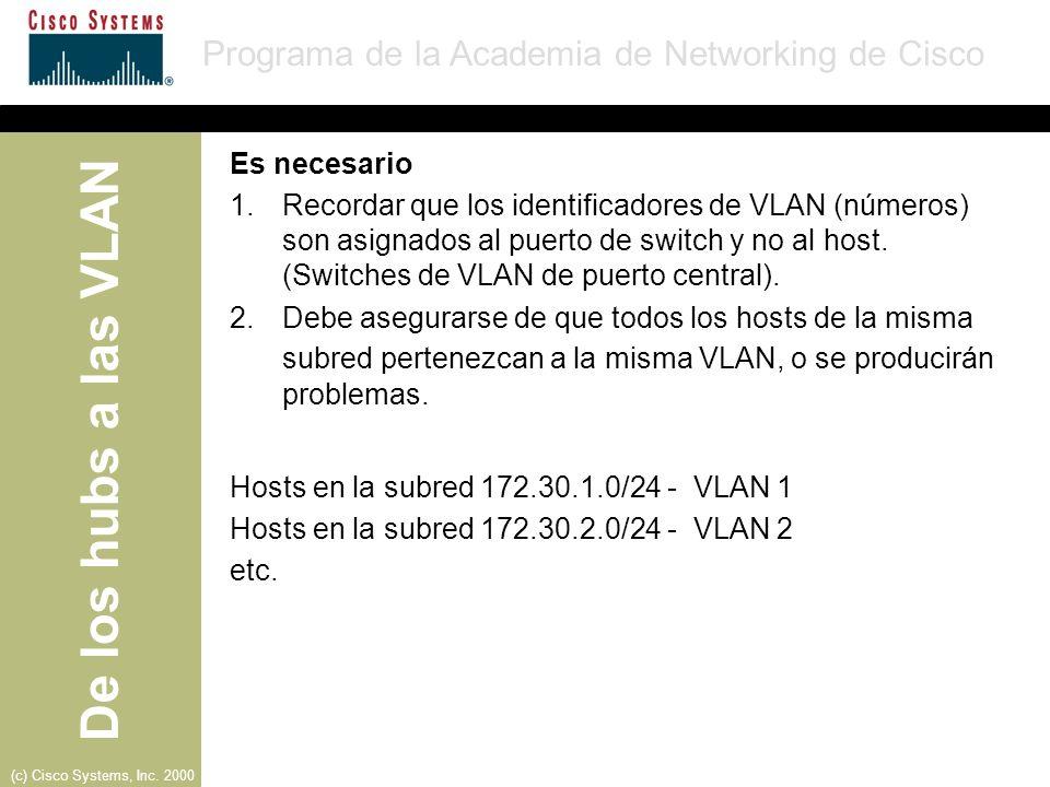 Es necesarioRecordar que los identificadores de VLAN (números) son asignados al puerto de switch y no al host. (Switches de VLAN de puerto central).