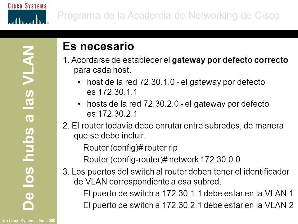Es necesario 1. Acordarse de establecer el gateway por defecto correcto para cada host.