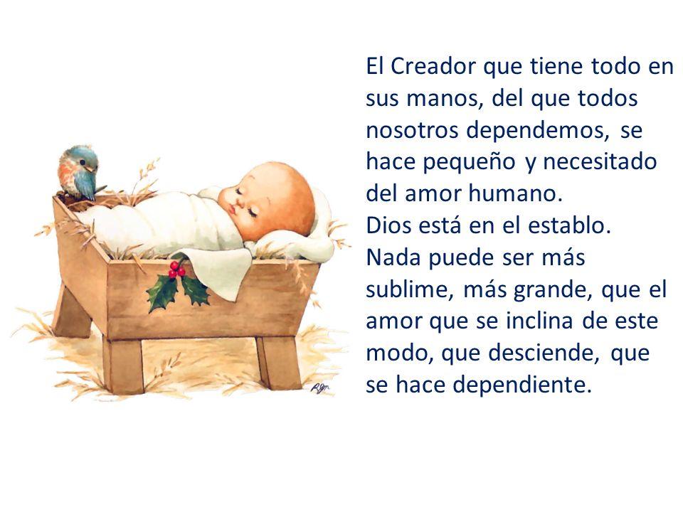 El Creador que tiene todo en sus manos, del que todos nosotros dependemos, se hace pequeño y necesitado del amor humano.