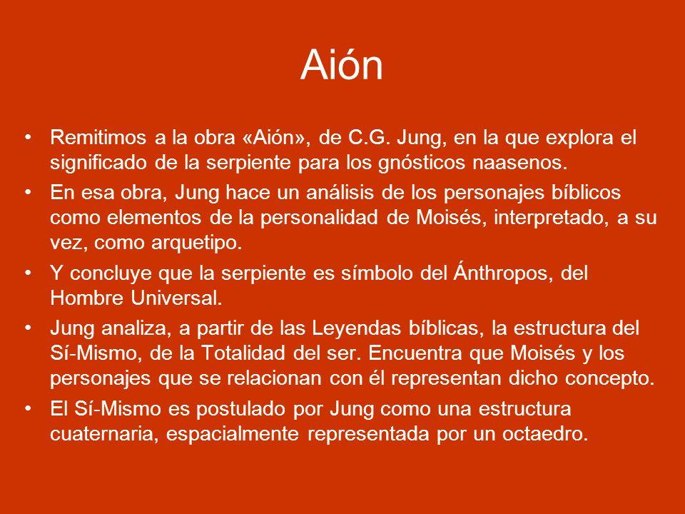 Aión Remitimos a la obra «Aión», de C.G. Jung, en la que explora el significado de la serpiente para los gnósticos naasenos.