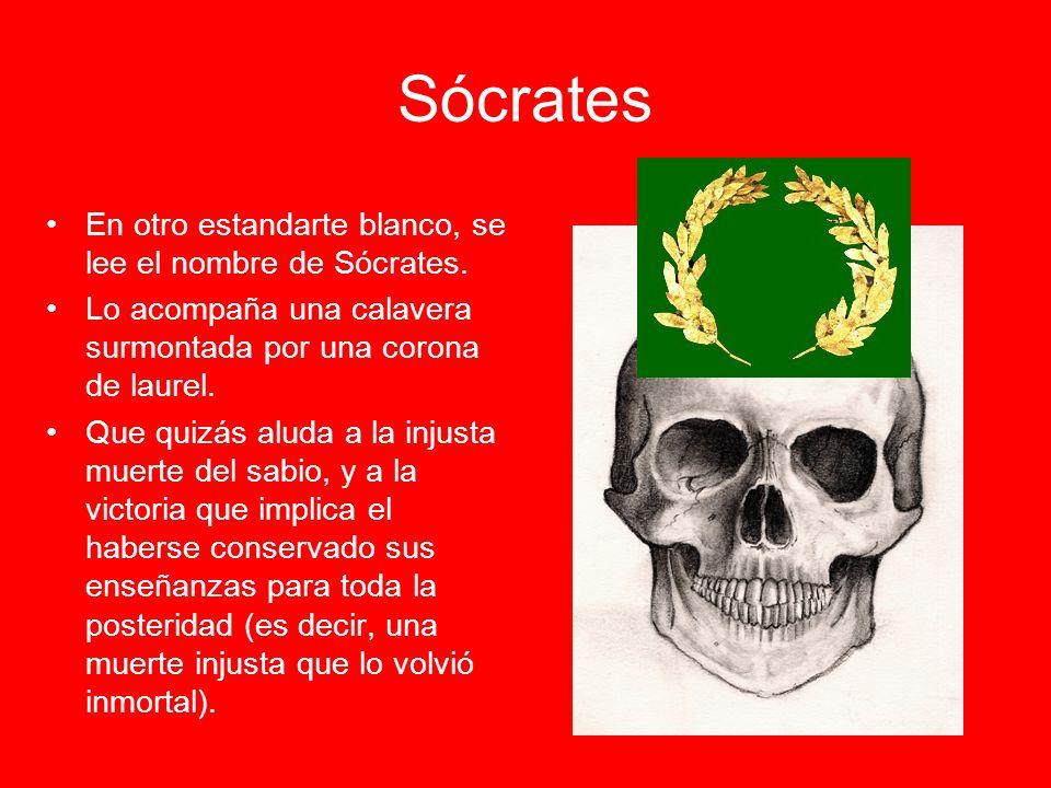 Sócrates En otro estandarte blanco, se lee el nombre de Sócrates.