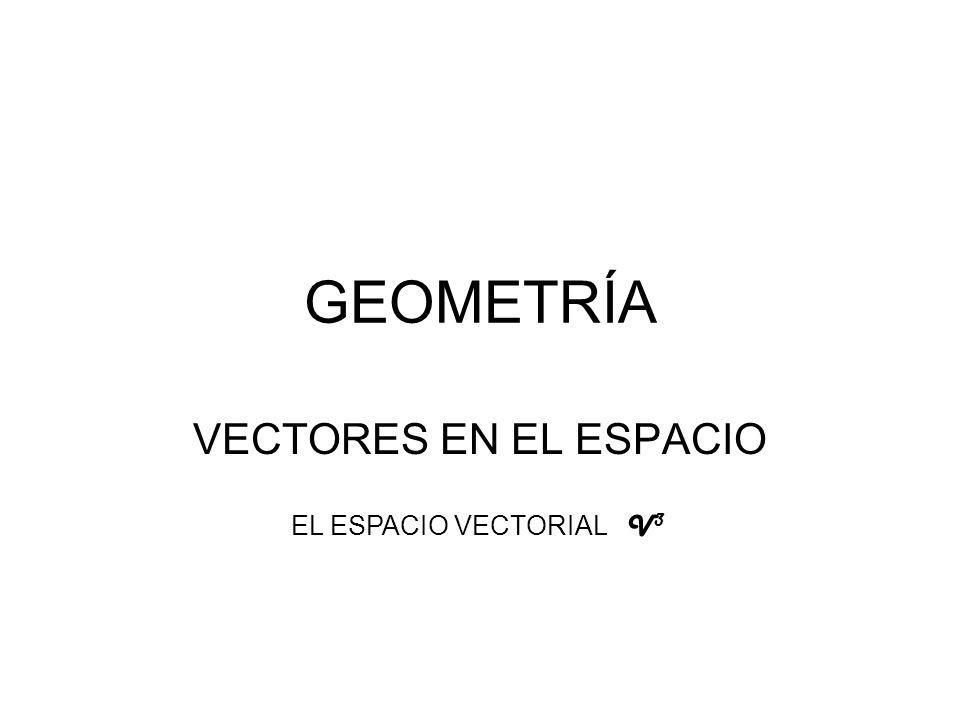 GEOMETRÍA VECTORES EN EL ESPACIO EL ESPACIO VECTORIAL V3
