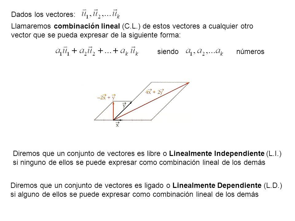 Dados los vectores:Llamaremos combinación lineal (C.L.) de estos vectores a cualquier otro vector que se pueda expresar de la siguiente forma: