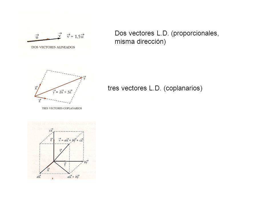 Dos vectores L.D. (proporcionales, misma dirección)