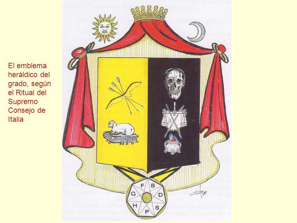 El emblema heráldico del grado, según el Ritual del Supremo Consejo de Italia