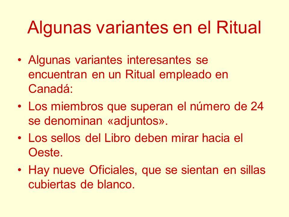 Algunas variantes en el Ritual