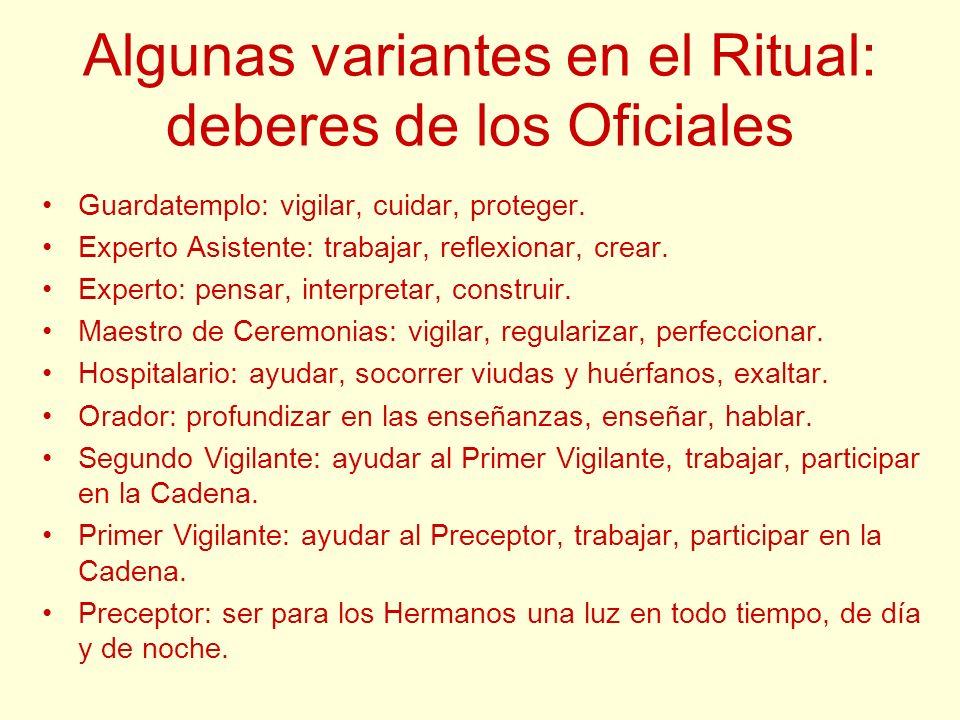 Algunas variantes en el Ritual: deberes de los Oficiales