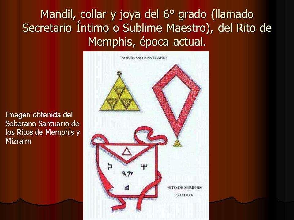Mandil, collar y joya del 6° grado (llamado Secretario Íntimo o Sublime Maestro), del Rito de Memphis, época actual.