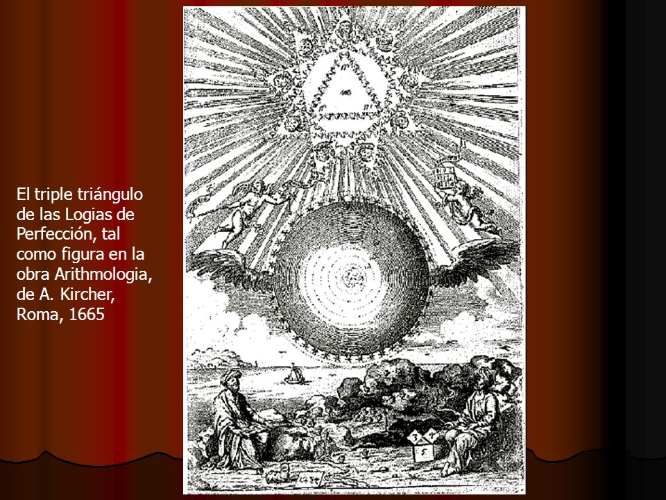 El triple triángulo de las Logias de. Perfección, tal. como figura en la. obra Arithmologia, de A. Kircher,