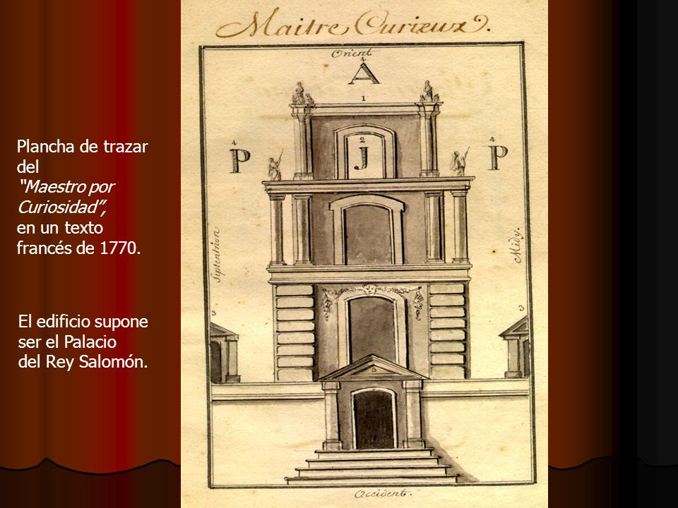 Plancha de trazar del. Maestro por. Curiosidad , en un texto. francés de 1770. El edificio supone.