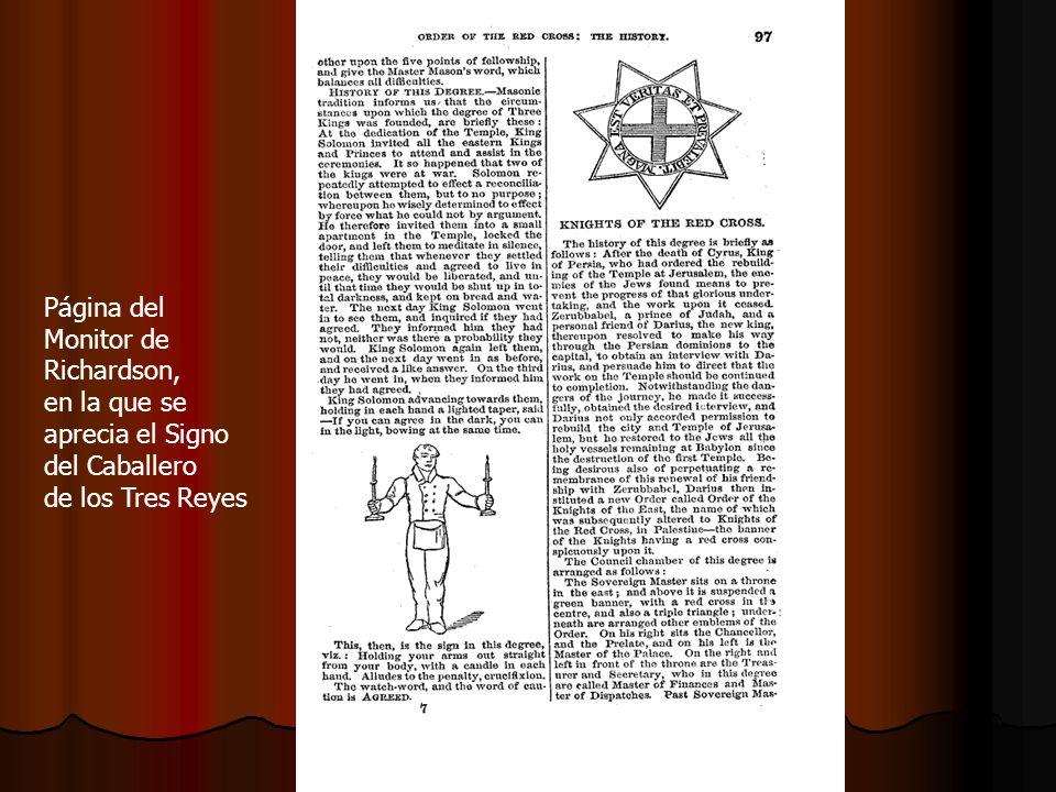 Página del Monitor de Richardson, en la que se aprecia el Signo del Caballero de los Tres Reyes