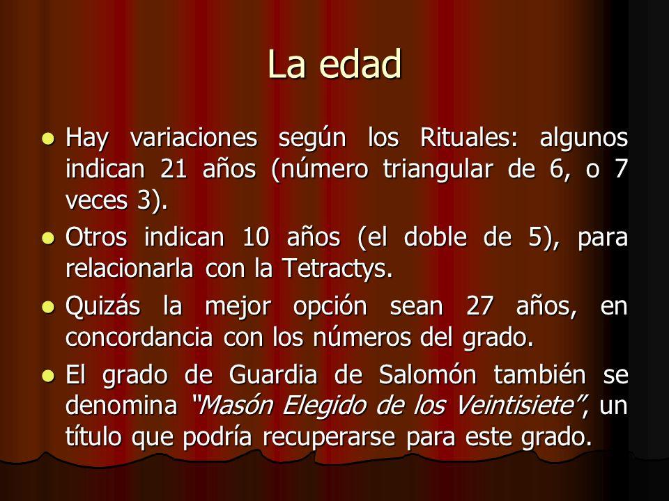 La edadHay variaciones según los Rituales: algunos indican 21 años (número triangular de 6, o 7 veces 3).