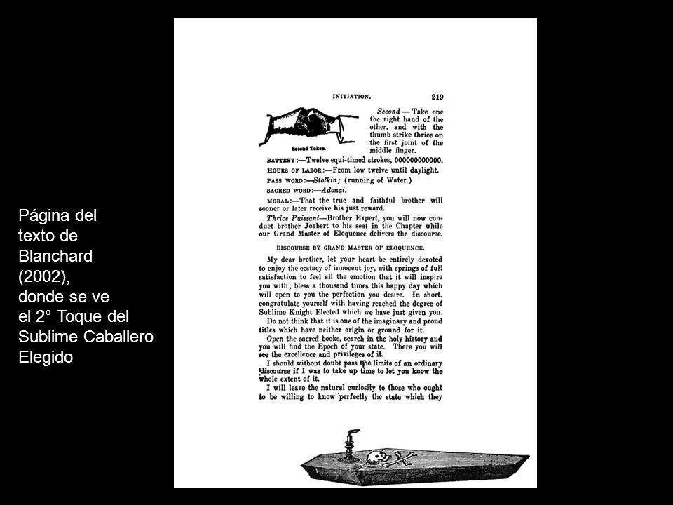 Página del texto de Blanchard (2002), donde se ve el 2° Toque del Sublime Caballero Elegido