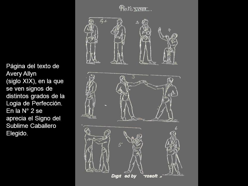 Página del texto de Avery Allyn. (siglo XIX), en la que. se ven signos de. distintos grados de la.