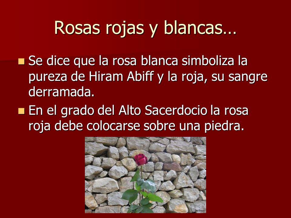 Rosas rojas y blancas… Se dice que la rosa blanca simboliza la pureza de Hiram Abiff y la roja, su sangre derramada.