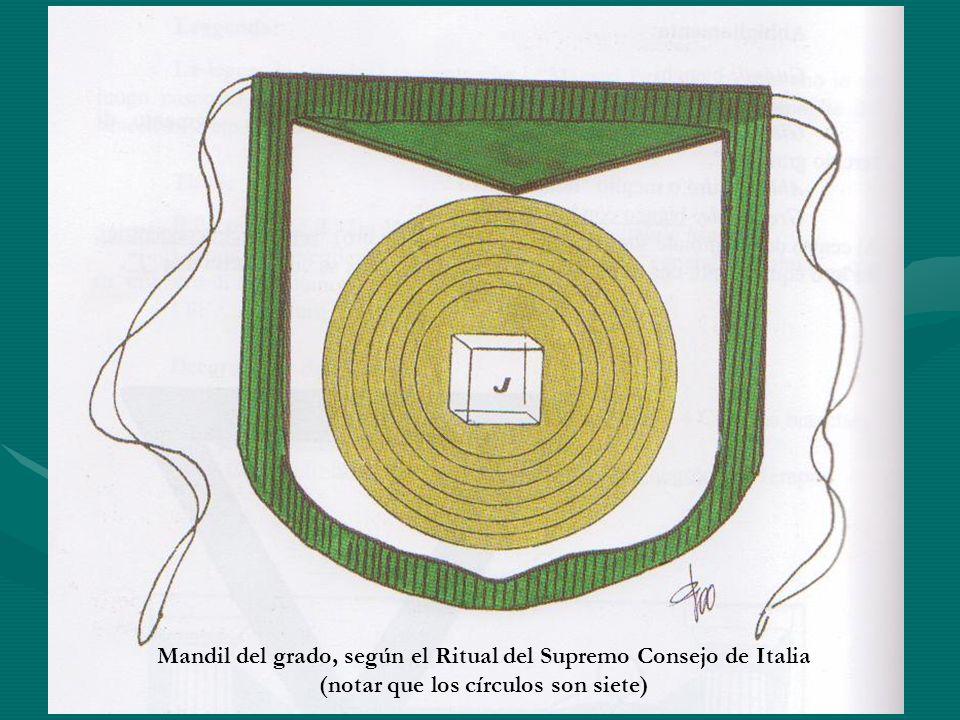 Mandil del grado, según el Ritual del Supremo Consejo de Italia