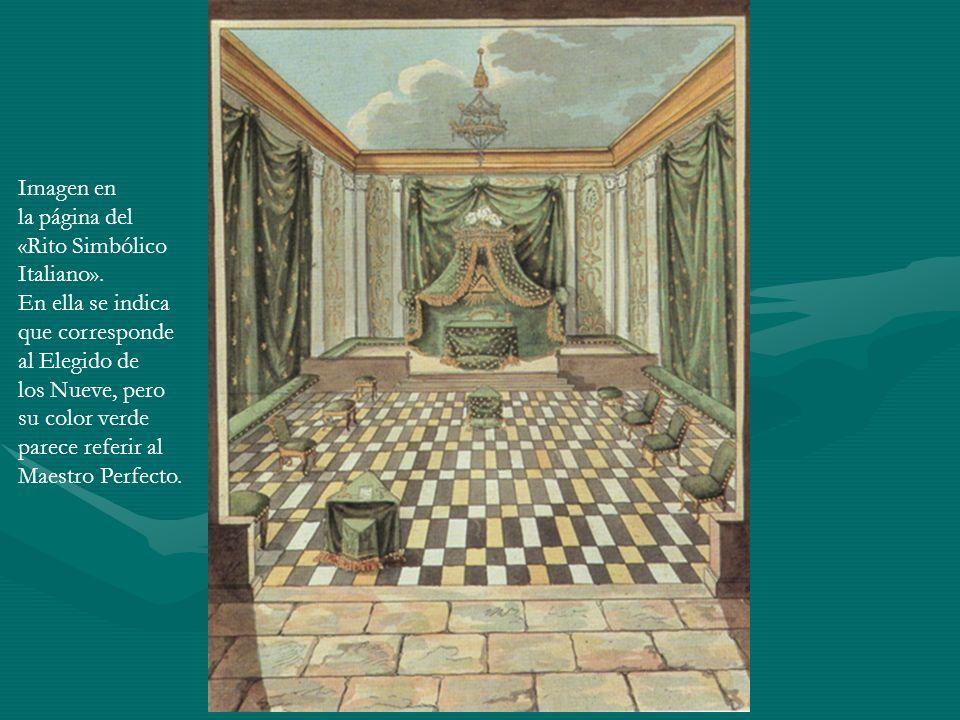 Imagen en la página del. «Rito Simbólico. Italiano». En ella se indica. que corresponde. al Elegido de.
