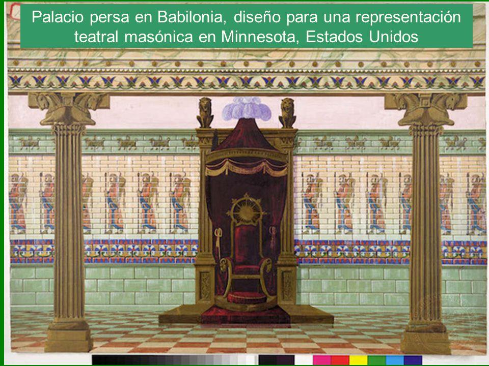 Palacio persa en Babilonia, diseño para una representación teatral masónica en Minnesota, Estados Unidos