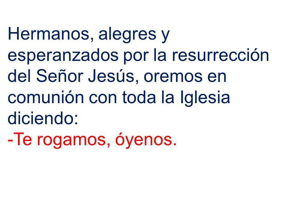 Hermanos, alegres y esperanzados por la resurrección del Señor Jesús, oremos en comunión con toda la Iglesia diciendo: